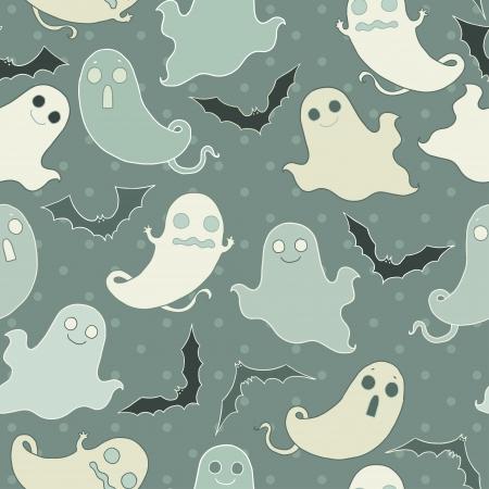 Cartoon ghost seamless pattern. Stock Illustratie