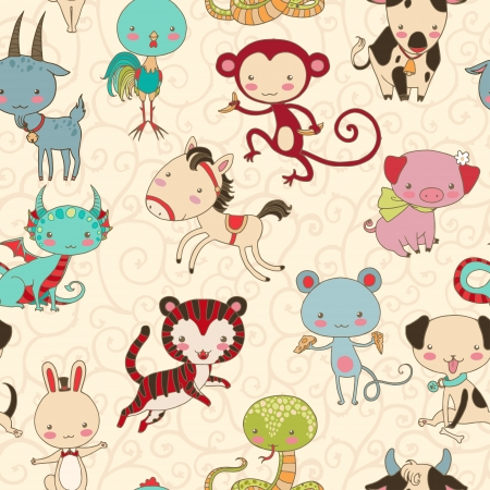 Chinese animals seamless pattern  Vector