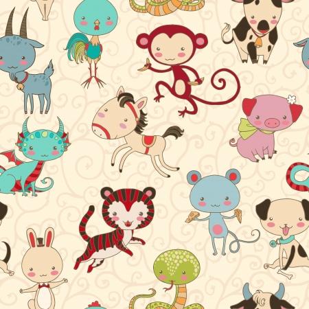 Chinese animals seamless pattern  Stock Illustratie