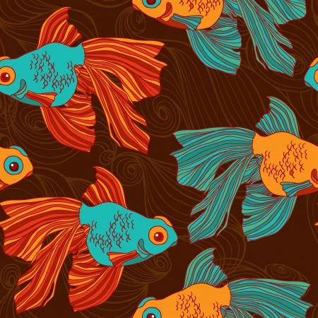 Goldfish seamless pattern.