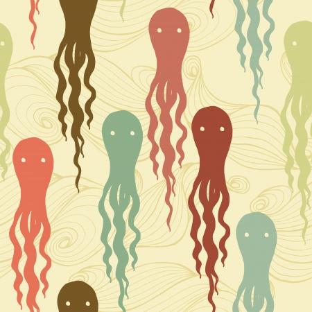 Cartoon octopuses seamless pattern.