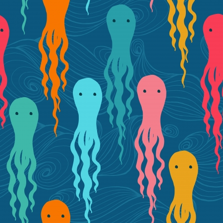 Cartoon octopuses seamless pattern. Vector