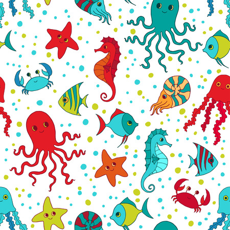 cr�atures: Les cr�atures marines seamless pattern. Illustration