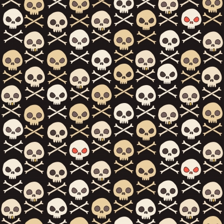 Cartoon skull seamless pattern. Illustration