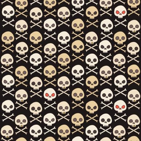 Cartoon skull seamless pattern. Stock Illustratie