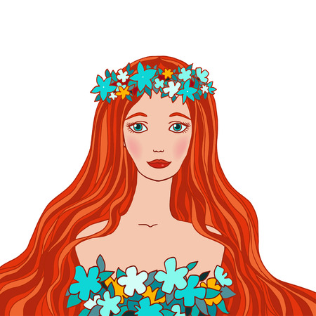 Illustration of Virgo astrological sign as a beautiful girl  Vector  Vector