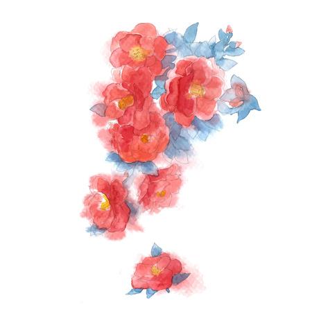 Watercolor style vector illustration of Camellia. Stock Illustratie