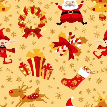 Christmas symbols vector seamless pattern. Vector