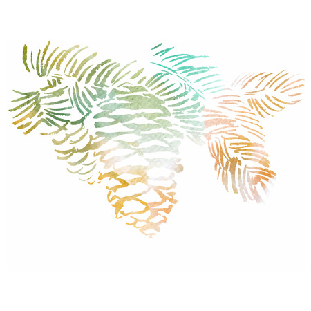 christmas watercolor: Watercolor-style pine cone vector illustration. Illustration