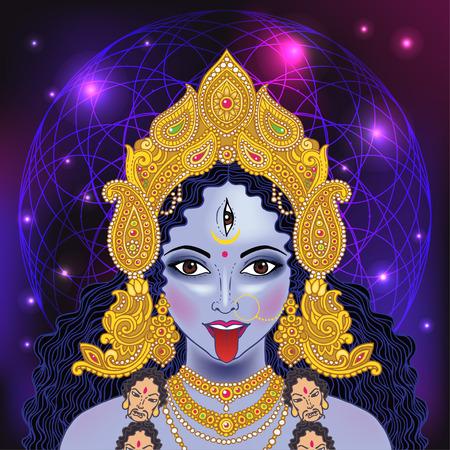 Indian Hindi goddess Kali. Vector illustration. Illustration