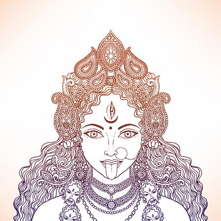 Indian Hindi goddess Kali. Vector illustration. Vettoriali