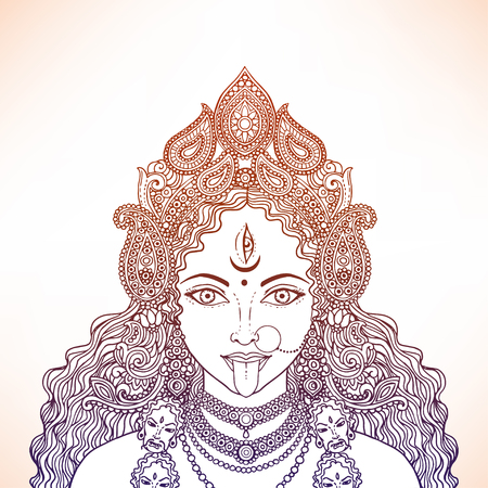 Indian Hindi goddess Kali. Vector illustration. Çizim
