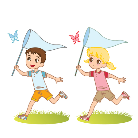Children play on meadow. Cute characters. Vector illustration. Vettoriali