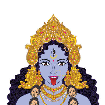 Indian Hindi goddess Kali. Vector illustration.
