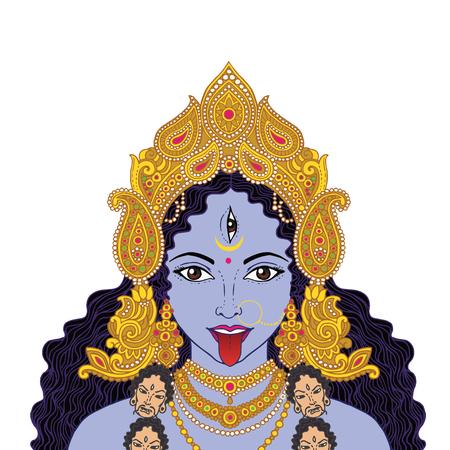 Indian Hindi goddess Kali. Vector illustration. Stock Illustratie