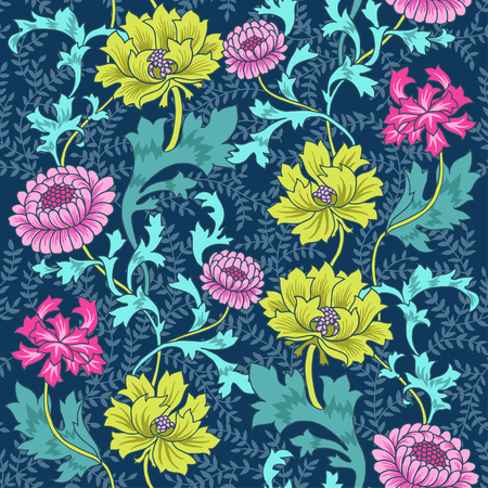 fairy garden: Dark Enchanted Vintage Flowers and Birds seamless pattern vector. Magic forest background.