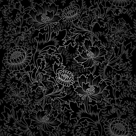 enchanted: Dark Enchanted Vintage Flowers and Birds seamless pattern vector. Magic forest background.