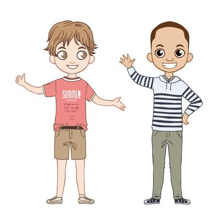 Ropa de moda para niño. ¡felices colección de los niños pequeños. Aislado en el fondo blanco. Foto de archivo - 57160977