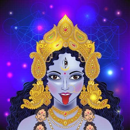 Indian Hindi goddess Kali. Vector illustration.