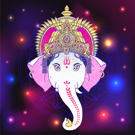 Head Hindu Lord Ganesha with watercolor backgrownd. Vector illustration.