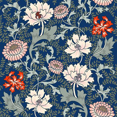 Sombres Enchanted Vintage Fleurs et Oiseaux seamless pattern. Magie fond de la forêt.