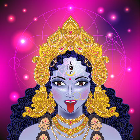 kali: Indian Hindi goddess Kali. Vector illustration. Illustration