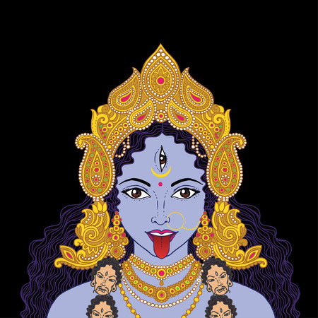 third eye: Indian Hindi goddess Kali. Vector illustration. Illustration