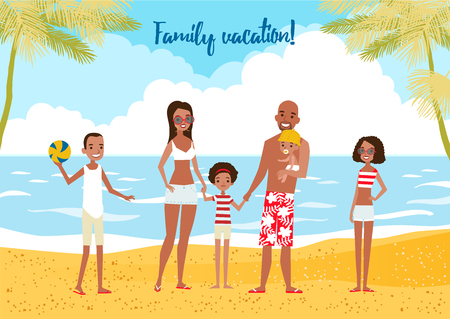 rulos: Familia grande en vacaciones. Ilustración del vector.