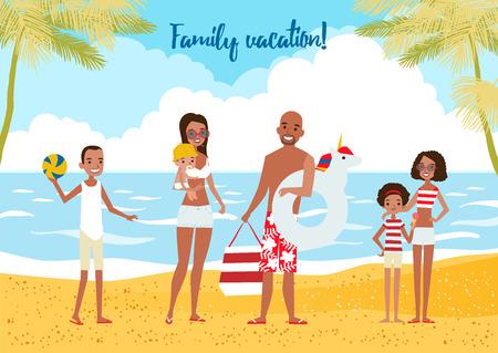 Big Family on vacation. Vector illustration.