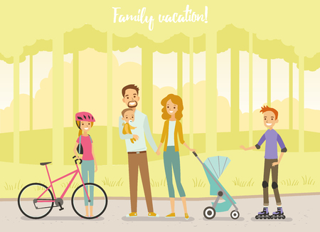 baby and mother: Big Family in park. Vector illustration.