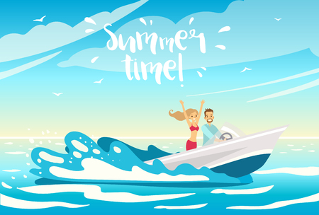Young beautiful couple in love standing on the boat. Cruise or sea voyage concept. Vector illustration. Summer time!