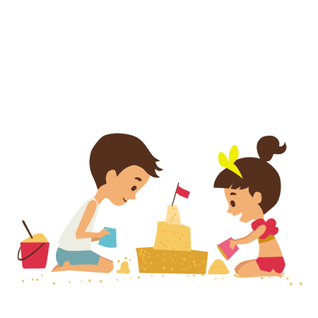 baby and mother: Children on the beach. Vector illustration.