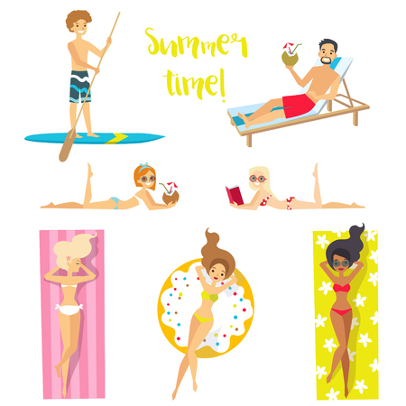 Happy people on vacation. Holidays on the sea! Beach activities. Vector illustration.