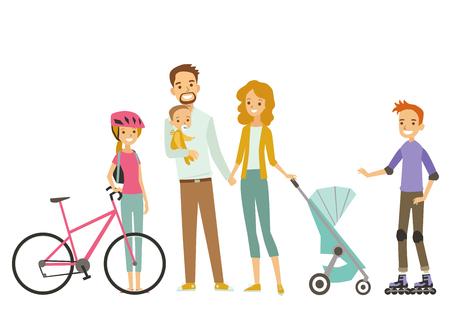 Duża rodzina na wakacjach. Ilustracji wektorowych. Ilustracje wektorowe