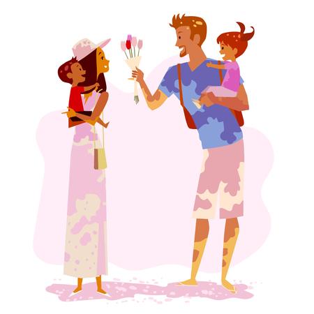 rulos: Familia de vacaciones. Los padres con sus hijos se divierten. Ilustración del vector.