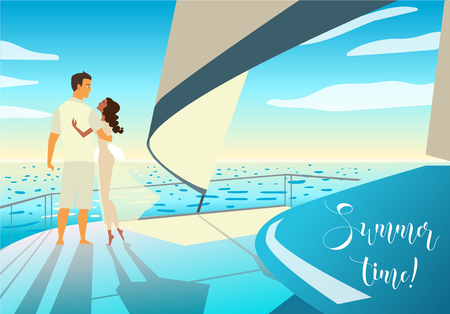 rich couple: Young beautiful couple in love standing on the boat. Cruise or sea voyage concept. Vector illustration. Summer time!