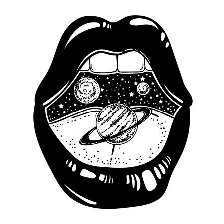 Illustrazione disegnata a mano di vettore della bocca femminile con i pianeti all'interno. Opera d'arte del tatuaggio surreale e stampa alla moda.
