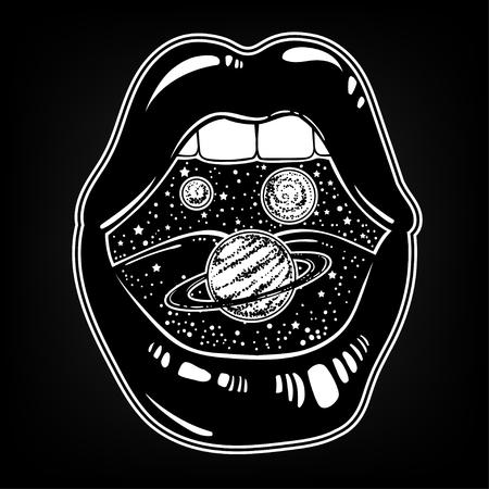 Vector illustration dessinée à la main de la bouche féminine avec des planètes à l'intérieur. Oeuvre de tatouage surréaliste et imprimé tendance. Vecteurs