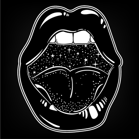 Vector hand drawn illustration of female mouth with stars inside. Surreal tattoo artwork and trendy print. Ilustrace