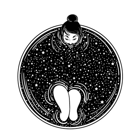 Beautiful girl takes bath in the cup of coffee or tea with stars and the moon. Concept vector illustration. Dark tattoo for amazing design.