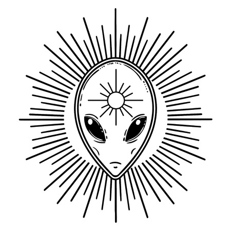 Alien face icon. Iseolated vector illustration.