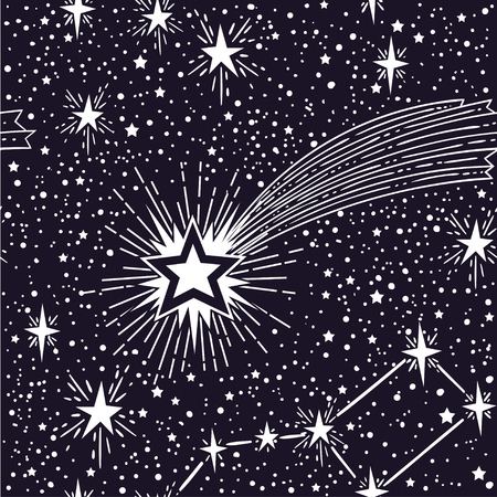 Vector seamless pattern with stars signs and comet. Space Galaxy Astronomical background.