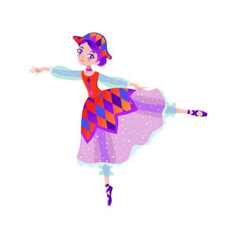 Christmas cartoon illustration from Nutcracker's story . Cute cartoon character from winter tale and ballet. Beautiful dancer ballerina. Vector illustration. Illusztráció