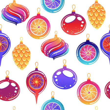 Seamless pattern with Christmas toys and sweets.  Vector illustration. Stylish graphic design in beautiful modern colors. Illustration