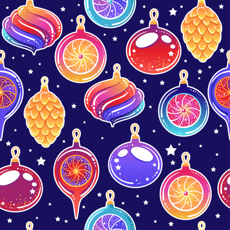Seamless pattern with Christmas toys and sweets.  Vector illustration. Stylish graphic design in beautiful modern colors. 일러스트
