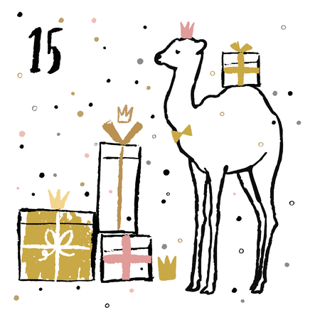 Christmas advent calendar with cute adorable animals. Hand drawn style. Winter holidays poster. Vector illustration. Illustration
