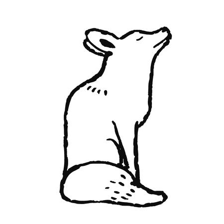Cute hand drawn animal in scandinavian style. Simple line art. Vector illustration.