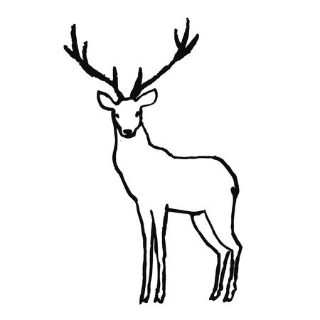Cute hand drawn animal in scandinavian style. Simple line art. Vector illustration. Illustration