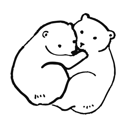 Cute hand drawn animal in scandinavian style. Simple line art. Vector illustration. Illustration