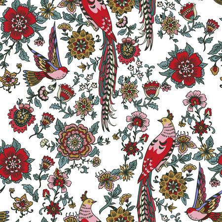 Vector de patrones sin fisuras de flores y pájaros vintage encantados oscuros. Fondo de bosque mágico.